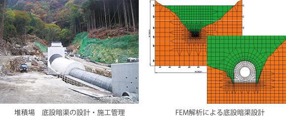 堆積場 底設暗渠の設計・施工管理、FEM解析による底設暗渠設計